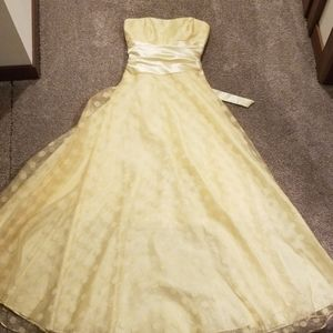 Yellow pokadot full length dress